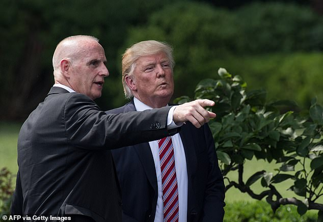It has also emerged that Goudreau struck on the idea of a coup after meeting with Trump's longtime bodyguard Keith Schiller (pictured)