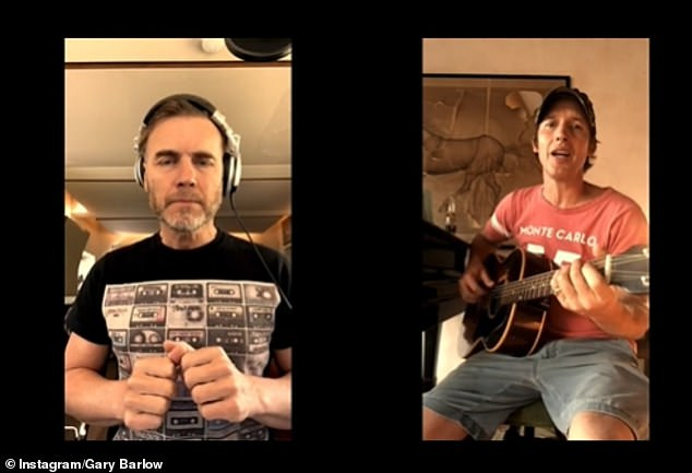 Acoustic:The Take that singer, 49, and the You're Beautiful crooner, 46, joined forces for a rendition of James' 2013 hit, Bonfire Heart from his album, Moon Landing