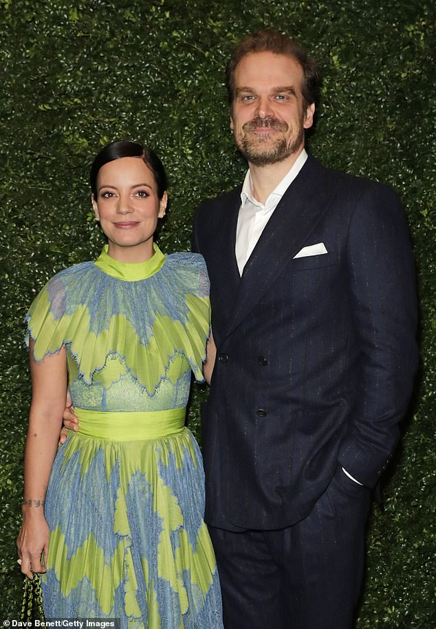 Amazed: this is not the first time Lily sparked engagement rumors in December she wore a ring on her engagement finger (pictured in February with her partner David harbour)