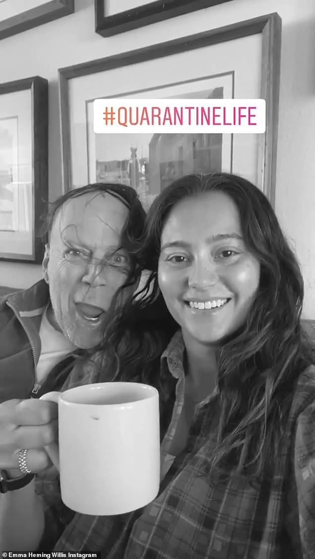 It really is a game of balance! Bruce was then seen posing with his current wife Emma Heming for his Instagram photo.