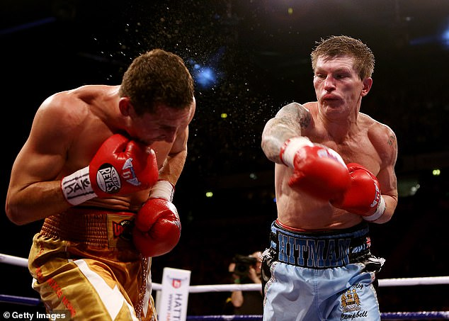Ricky Hatton of Great Britain in action with Vyacheslav Senchenko of Ukraine during their Welterweight bout at the MEN Arena on November 24, 2012 in Manchester
