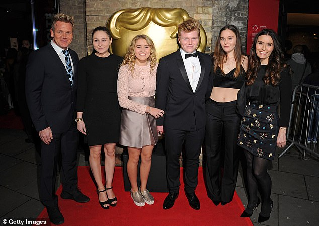 Close family: Gordon relocated to Cornwall with his family - daughter Megan, 22, twins Jack and Holly, 20, daughter Matilda, 18, and wife Tana, 45 (from left to right)