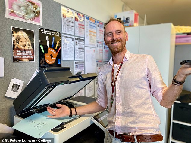 Anthony Stott (pictured), who taught at St Peters Lutheran College in Brisbane, was fatally hit by a truck in northern New South Wales