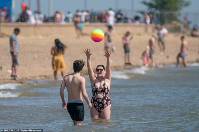 Police had to clear beaches at Southend-on-Sea, Essex, after sun-seekers flocked to the coast to enjoy the warm water