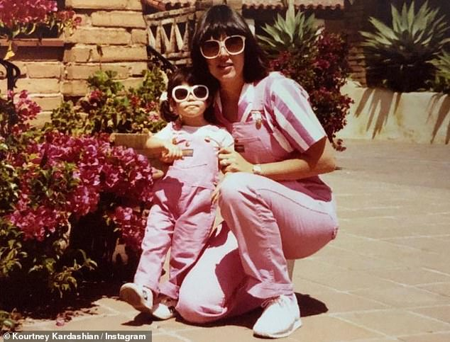 Matchy matchy: Kris Jenner matched Kourtney Kardashian in pink on Sunday while older brother went on Instagram with a retro photo for Mother's Day