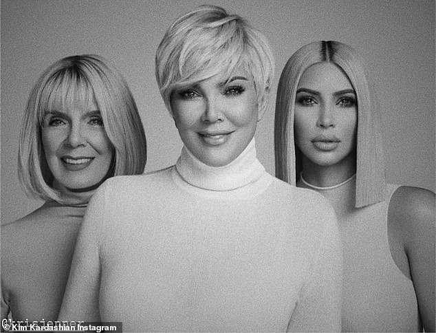 Blonde ambition: Kim, 39, shared black and white photos with Kris and her grandmother Mary Jo, 86, all sporty 'blonde shorts' back