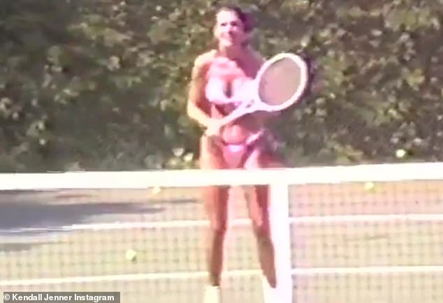 Bikini Babe: The model also posted a video of her mother swinging a pink bikini while playing tennis