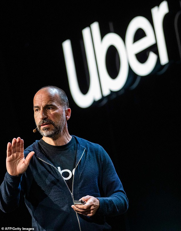 CEO Dara Khosrowshahi, above, will also forgo his$1million base salary for the rest of the year