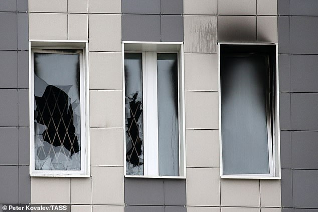 A brazier swept a Covid-19 intensive care unit at a St. Petersburg hospital. In the photo, damage to the windows of the room