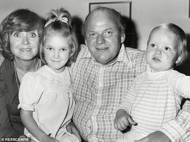 Tragedy: Rory and Karina's father, actor Roy Kinnear, died at age 54 in 1988 from a heart attack, caused by injuries sustained when he fell from a horse (1979 photo with his wife Carmel, Rory and daughter Kirsty)