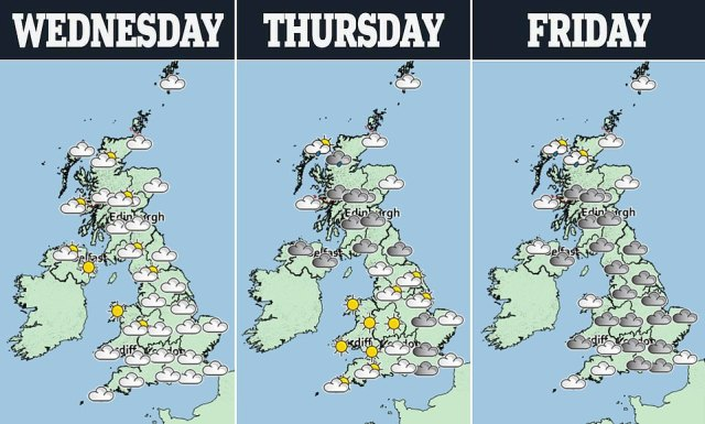 The weather is to perk up heading into the weekend, with sun in southern regions and prolonged spells without fear of rain