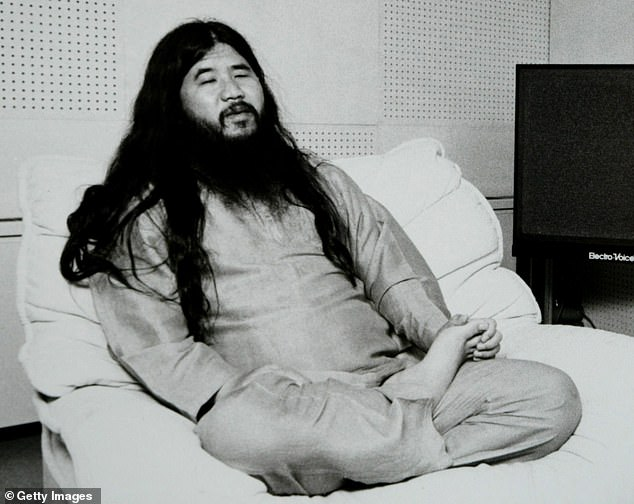 Shinrikyo Aum was founded by Shoko Asahara (pictured) in Tokyo 1984 as a belief system drawing upon elements of Indian and Tibetan Buddhism, as well as Hinduism, Christianity, yoga, and the writings of Nostradamus