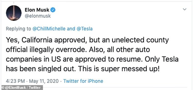 Elon Musk said on Monday that he was restarting production, and dared county officials to arrest him. He claimed Tesla has been singled out in not being allowed to reopen