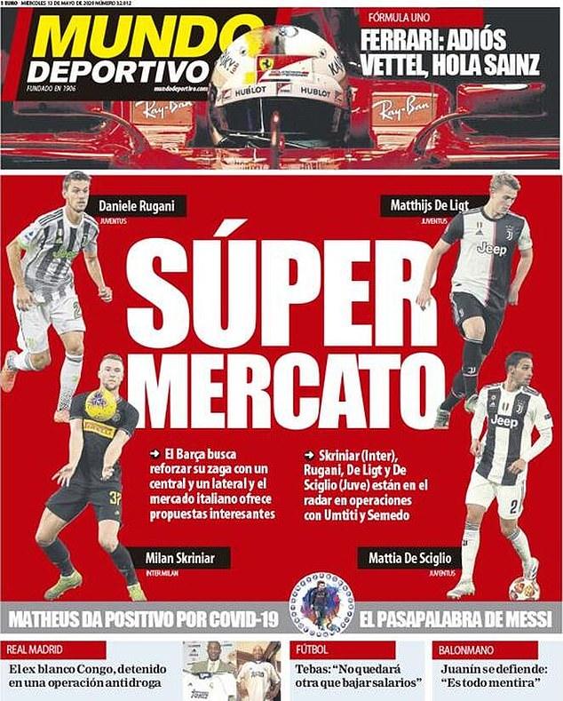 El Barcelona está mirando a cuatro defensores de la Serie A según el diario español Mundo Deportivo