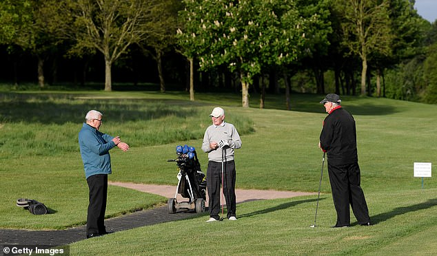 Athletes could be seen playing golf in Liverpool, Leeds, Leicestershire (photo) and Winchester this morning after greenkeepers tended to their courses