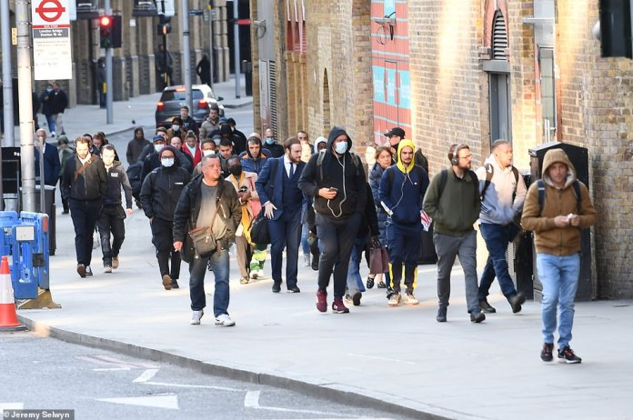 The sidewalks around London Bridge station were busy this morning as more and more people were heading to work this week