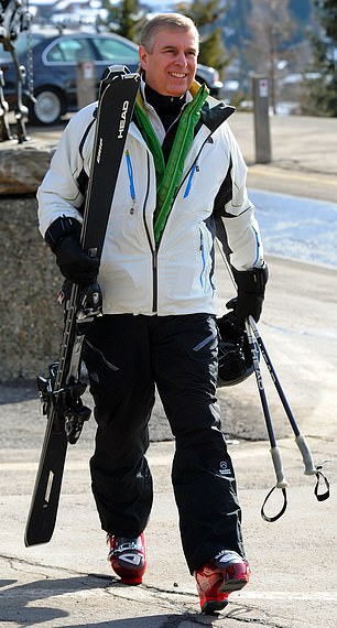 Pictured: Prince Andrew on his way to the slopes