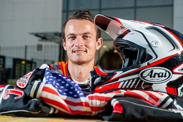 Professional speedway rider Ricky Wells, who grew up in California, is working at Amazon's site in Doncaster