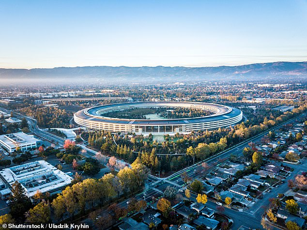 Apple's headquarters is seen above. Last month, bitter rivals Apple and Google announced their contract tracing collaboration to great fanfare