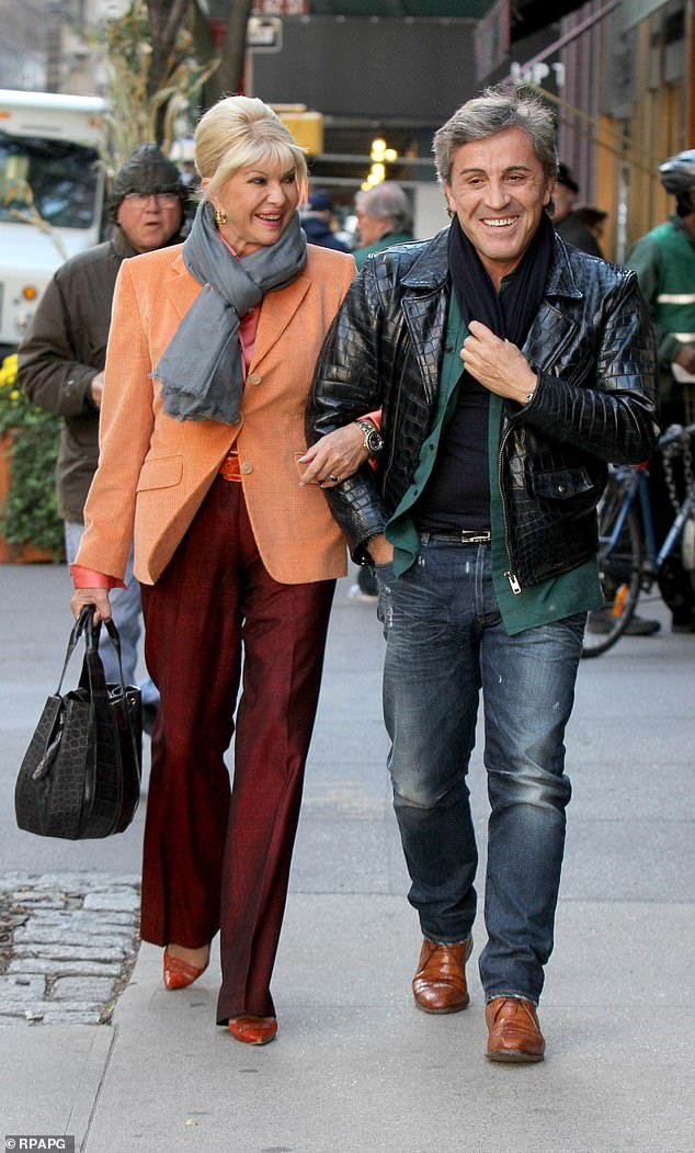Isabelle de Rouvre, who is dating French art dealer Michael Kennedy, is pursuing the couple through the courts for £6.7million. Pictured: Ivana Trump with her new boyfriend Michael Kennedy in Manhattan in 2012