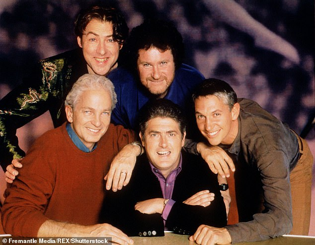 They Think It's All Over was a sports-based satirical talk show hosted by Nick Hancock (center) and starring Gary Lineker (right), David Gower (left), Jonathan Ross (top left) and Rory McGrath (top middle))
