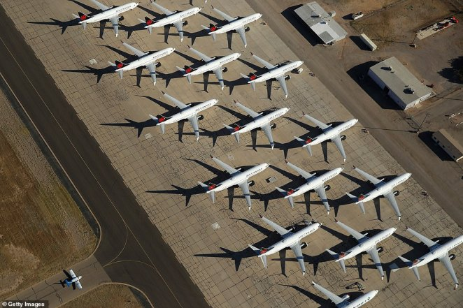 Air Canada aeroplanes grounded by coronavirus have had to find indefinite parking spaces in the deserts of the Southwest