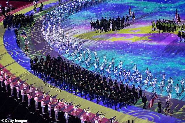 Pictured:The delegation of United States entering the stadium during the opening ceremony of October's Military World Games