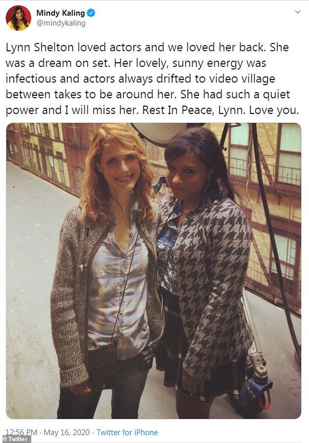 Not forgotten:Mindy Kaling, whom Shelton directed in two episodes of The Mindy Project, wrote: 'Lynn Shelton loved actors and we loved her back. She was a dream on set'