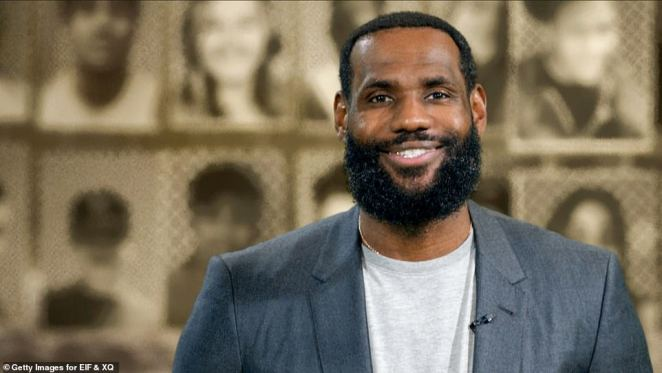 So many seniors: LeBron James kicked off the one-hour special in a green screen warehouse, plastered from wall to wall with photos of graduating seniors