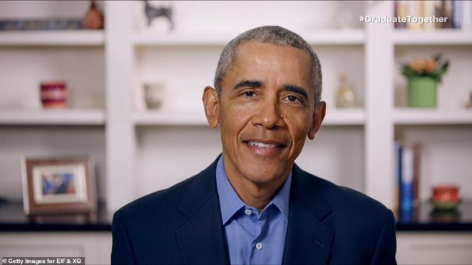 Keynote address: President Barack Obama then offered an empowering keynote address:'The truth is, you don't need us to tell you what to do. Because in so many ways, you've already started to lead. Congratulations, class of 2020. Keep making us proud'