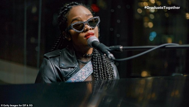 Soulful song: H.E.R. gave a soulful performance of her song Sometimes