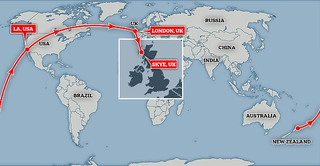 Gaiman flew from Auckland, New Zealand to London via Los Angeles, before driving from the capital to Skye