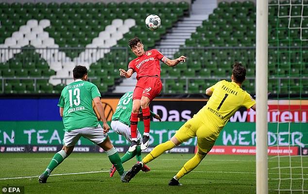 Kai Havertz put Bayer Leverkusen ahead against Werder Bremen with a clever header