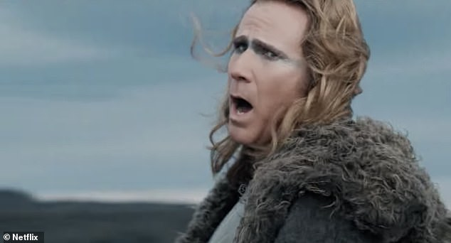 Funnyman: Ferrell, who has more than proven his comedic qualities in classics like Anchorman and Zoolander, is dressed in silly Viking armor, with cheeky gray makeup on the eyes.