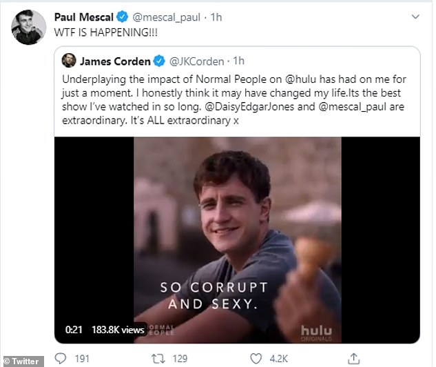 Message of appreciation: James had gone to Twitter a few days earlier to praise the teenage sex drama that got everyone talking