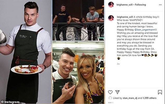 South African TV star and radio personality Leigh-Anne Williams had returned to South Africa when she posted a glowing Happy Birthday to Ungermann