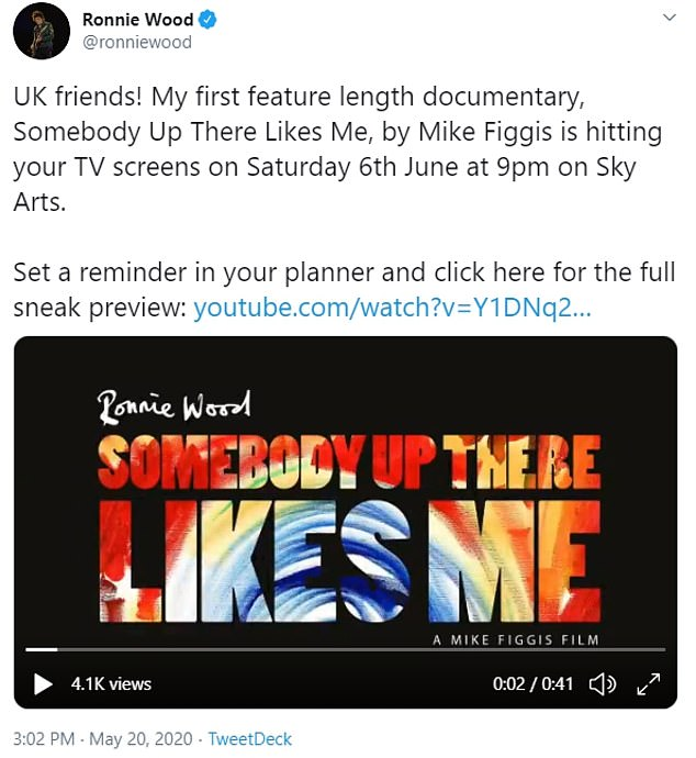Teaser:Ronnie shared a teaser clip of the feature-length programme, called Ronnie Wood: Somebody Up There Likes Me, to his Twitter ahead of its June debut on Sky Arts