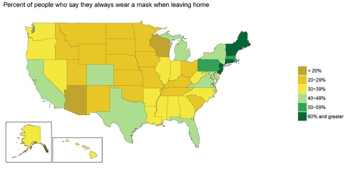 Institute director Chris Murray told CNN that the lower forecast was due in part to the growing number of Americans who wear masks when they go out. About 40% of Americans said they always wore a mask when they left the house
