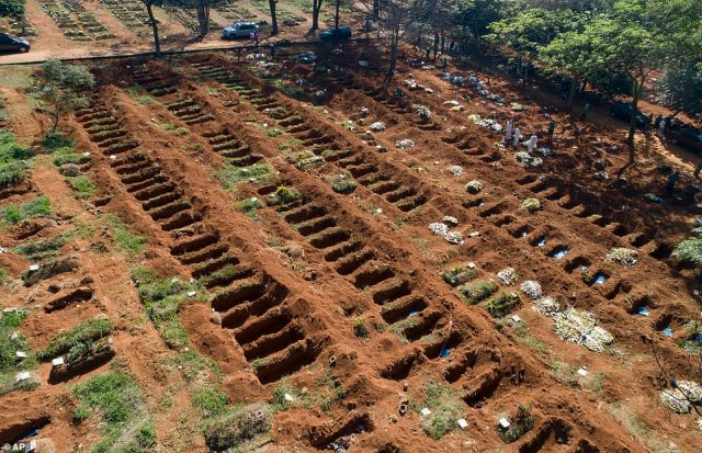Mass graves has been pictured at cemeteries across Brazil to house some of the country's victims. Pictured:Recently dug graves lay empty at the Vila Formosa cemetery