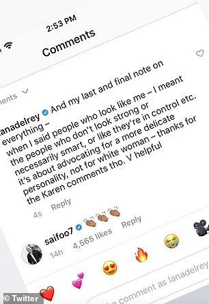 Upset: Lana lashed out at her Instagram critics, insisting that her rant had nothing to do with race, but rather the fact that `` there are certain women who culture doesn't want to have a voice '' ''