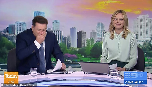 'Good grief!' All eyes were on Today show host Karl Stefanovic when he accidentally sneezed live on air on Friday morning alongside co-host Allison Langdon