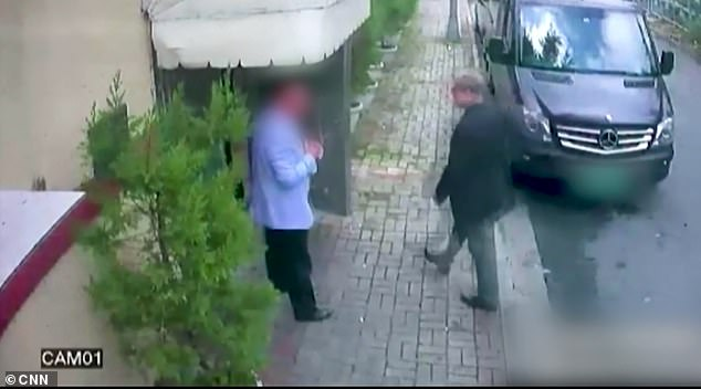 Khashoggi is pictured entering the Saudi embassy in Turkey on October 2 2018