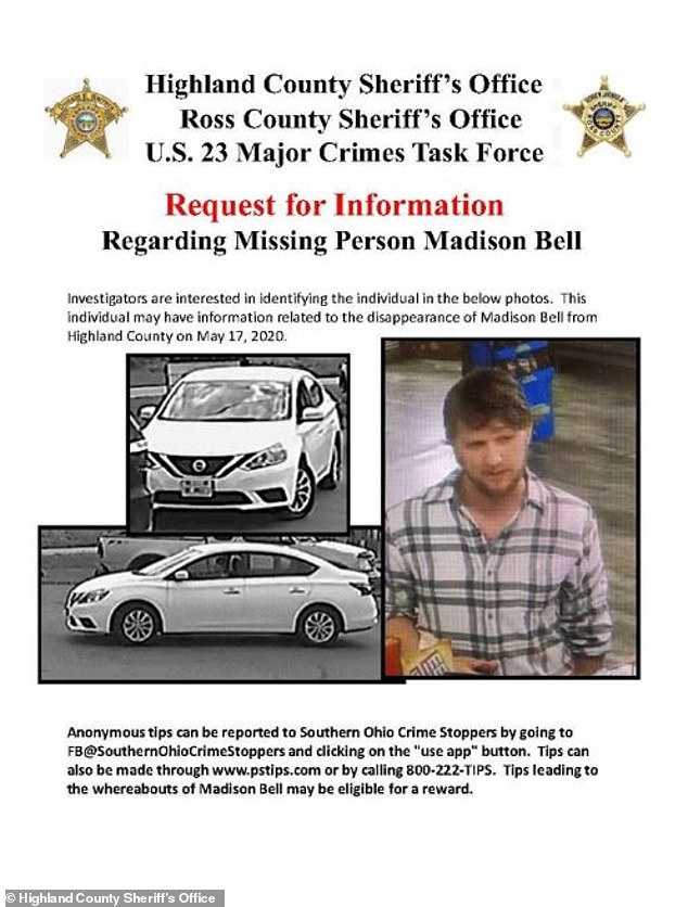 Police also released images of the white car, writing: 'Investigators are interested in identifying the individual in the below photos. This individual may have information related to the disappearance of Madison Bell from Highland County on May 17'