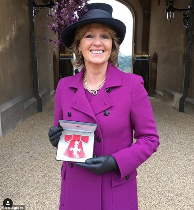 Edo's mother Nikki Shale hosted the happy couple during lockdown at her £1.5 million home in Chipping Norton (pictured, Nikki with her MBE in 2019)
