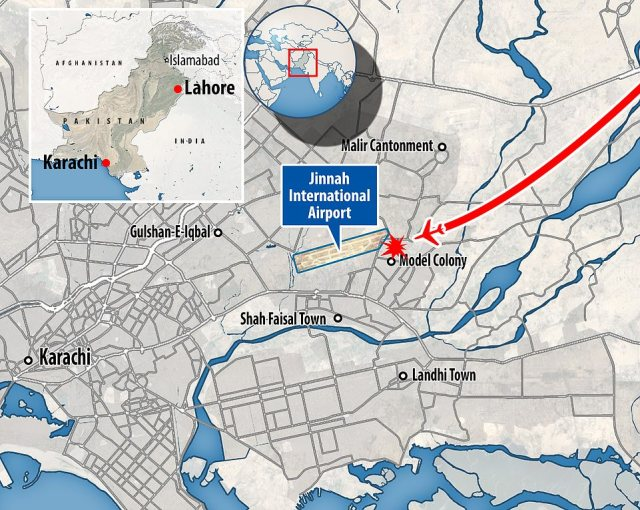The plane had been flying from Lahore to Jinnah, which usually takes 90 minutes, before it went down in the Model Colony area as it began its final approach to land at Karachi airport