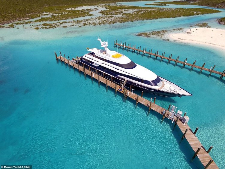 Octopussy pictured moored in the Bahamas.The current fastest superyacht in the world is the 140ft 'World Is Not Enough', which has a top speed of 70 knots (80mph)