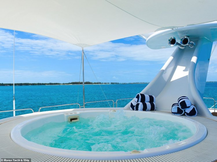 The hot tub on board the re-fitted Octopussy. The superyacht is now 20ft longer than it was at launch