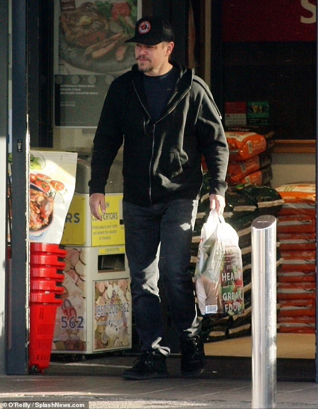 Outside: Matt Damon was photographed for the first time since he revealed that his daughter Alexia, 21, had fully recovered from the coronavirus on Friday