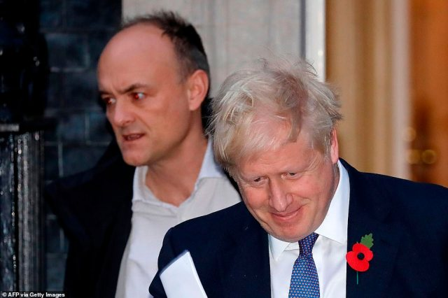 The Prime Minister is fighting to keep his closest lieutenant tonight following a string of demands for Mr Cummings's scalp (pictured together in October)