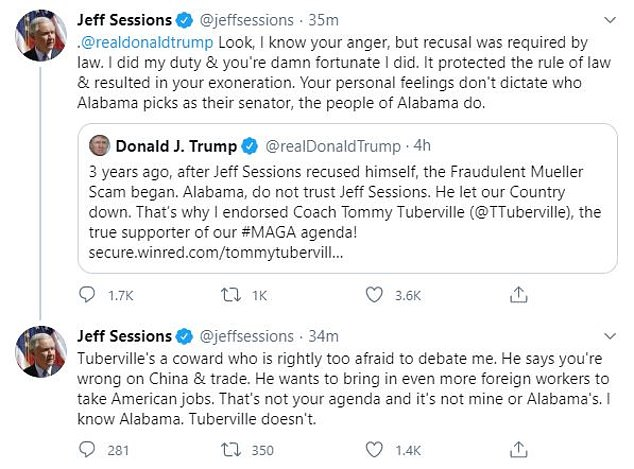 Hours after the president's tweet, Sessions fired back at Trump to tell him that it was lucky he recused himself during Mueller's Russia investigation